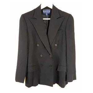 RALPH LAUREN Double Breasted Black Blazer, Size 6